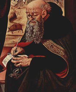 """Sv. Antonijs. Pjero di Kozimo (1462-1521) gleznas """"Dievmātes apmeklēšana"""" fragments (Wikimedia Commons)"""
