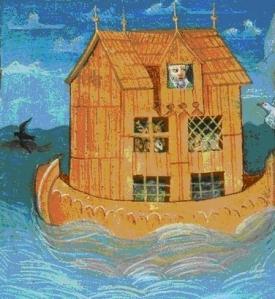 "Noasa šķirsts. Miniatūra no rokraksta ""Wiener Weltchronik"" (~1470. g.) (www.bibelwissenschaft.de)"