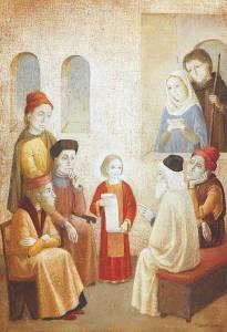 Jēzus ar Mariju un Jāzepu, un rakstu mācītājiem (www.breviary.net)