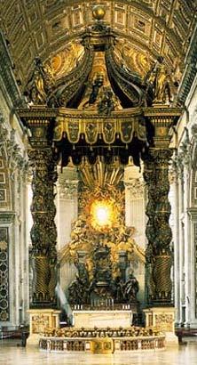 Vatikāna Sv. Pētera bazilikas galvenais altāris un Sv. Pētera katedras altāris – kristiešu vienotības simbols (www.breviary.net)