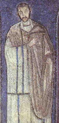 Sv. Ambrozijs (5. gs. mozaīka Milānas Sv. Ambrozija bazilikā) (breviary. net)